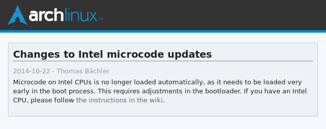 How To Fix Your Bootloader For Changes To Intel Microcode Arch Linux main blog post image